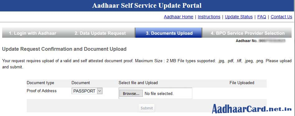Aadhaar Update or Correction Documents Upload