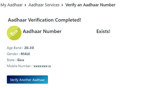 Aadhaar Verification Completed