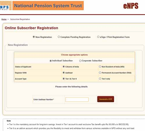 Open National Pension System (NPS) Account with Aadhaar Card Number - Open National Pension System Account With Aadhaar Number
