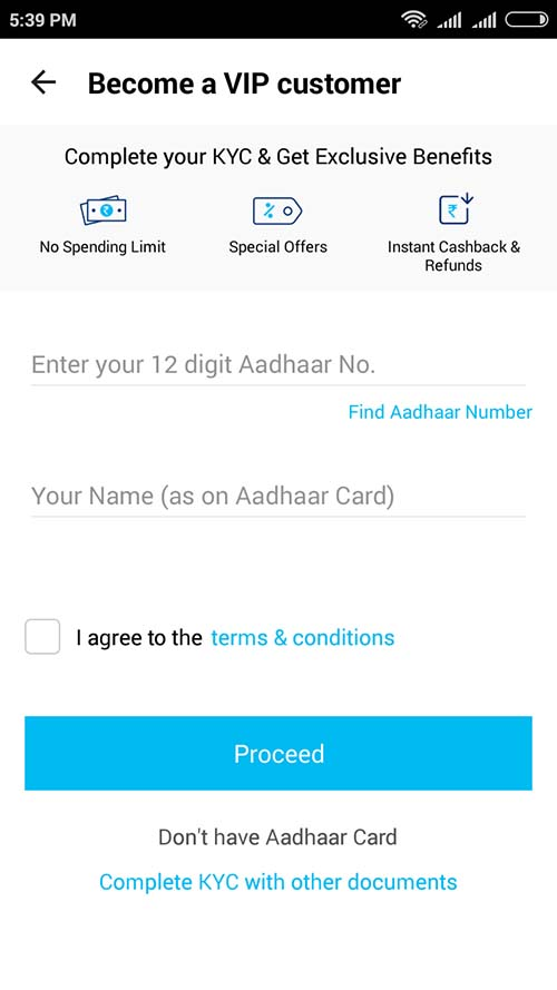 Become Paytm VIP Customer with Aadhaar Number