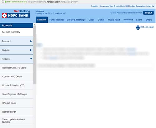 Link Aadhaar with HDFC Bank Account
