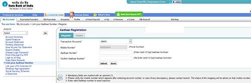Link your Aadhaar Number with SBI
