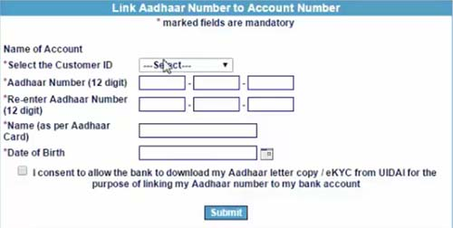 Link Aadhaar Number to IOB Account Number