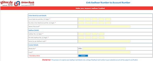 Link Aadhaar Number with Union Bank of India Account