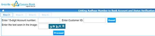 Link Aadhaar with Canara Bank Account
