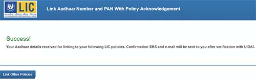 Link Aadhaar Number and PAN with Policy Acknowledgement