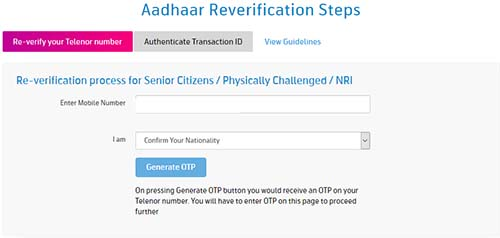 Telenor Re-verification Process for Senior Citizens, Physically Challenged and NRI