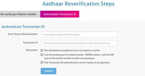 Telenor Aadhaar Re-verification Process