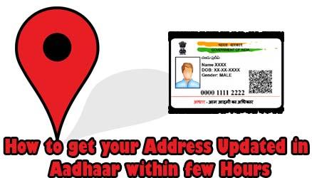 Address Updated in Aadhaar within few Hours