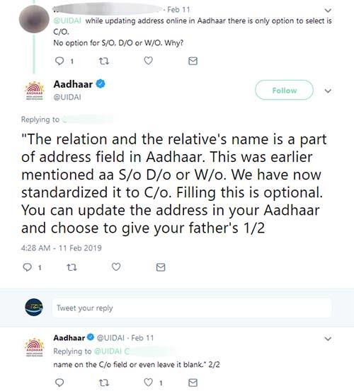 Aadhaar C/O