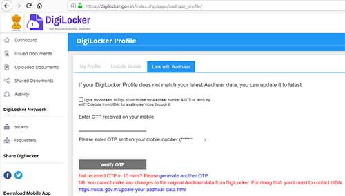 DigiLocker link with Aadhaar OTP