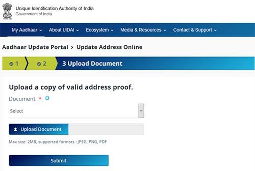 Address Update Document Upload