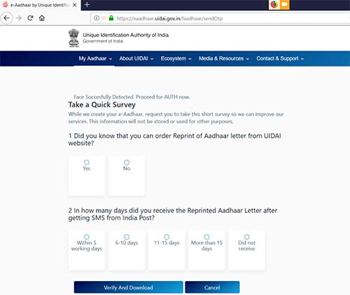 Aadhaar face Auth Quick Survey