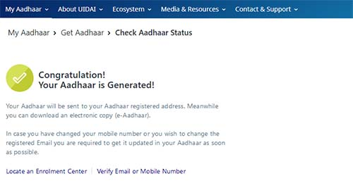 Aadhaar Status Showing Generated