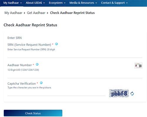 Check Aadhaar Reprint Status