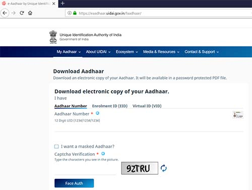 Download Aadhaar with Face Auth