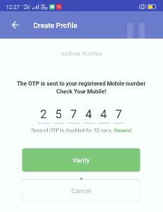 mAadhaar Create Profile OTP