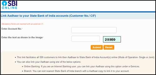 SBI Online Aadhar Link Non-internet Banking User