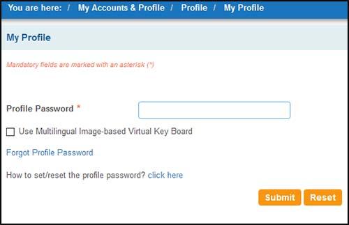 Online SBI Profile Password