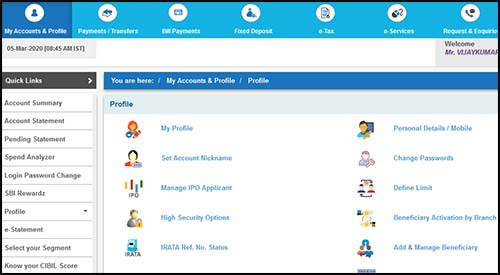 Online SBI Profile