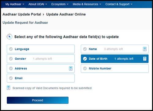 Update Date of Birth Field in Aadhaar